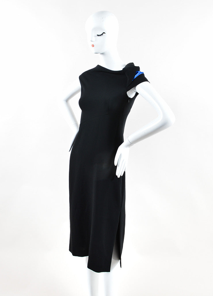 "Atuzarra Black and Blue Crepe Asymmetric ""Rushdie"" Midi Dress Sideview"