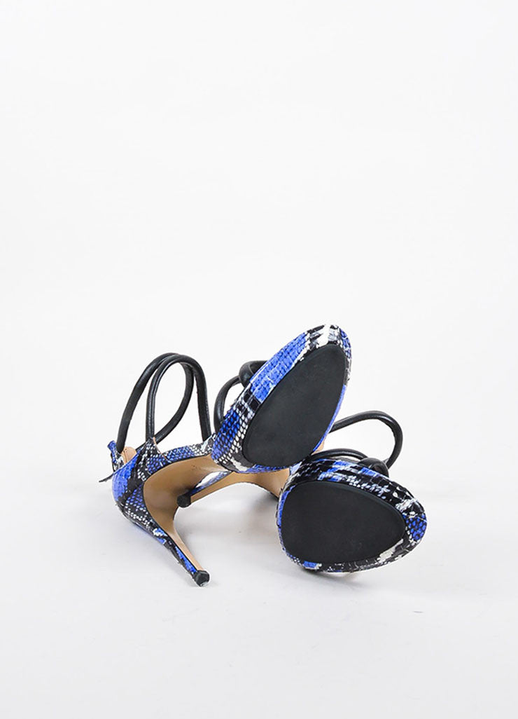 Aquazzura Black, Blue, and White Snakeskin Strappy Sandal Heels Outsoles