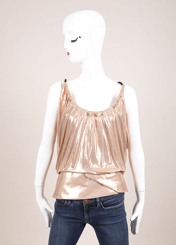 Balenciaga Metallic Blush Peplum Tank Top Frontview