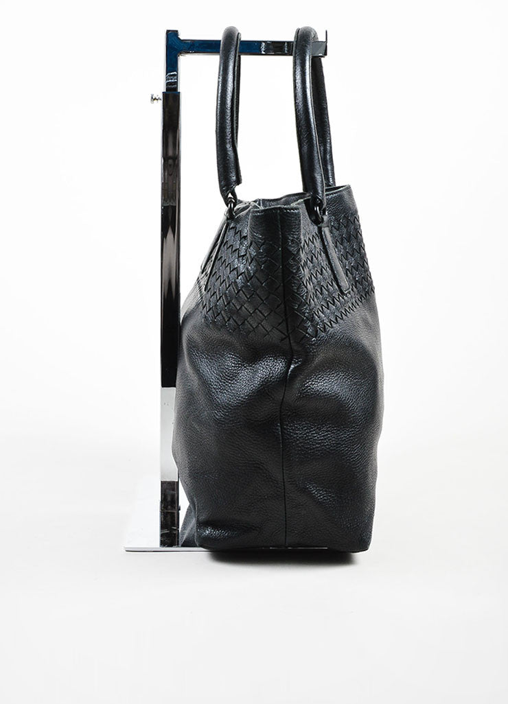 Black Bottega Veneta Leather Intrecciao Weave Detail Tote Bag Sideview