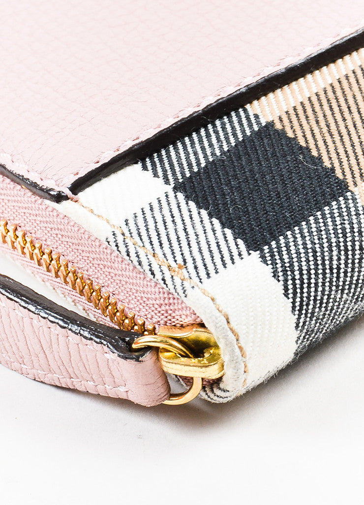 "Burberry Pink and Multicolor Leather Plaid ""Elmore House Check Derby"" Wallet Detail"