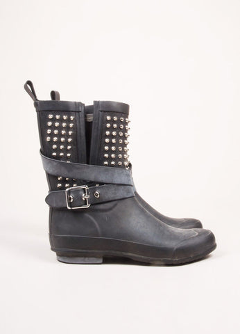 Burberry Black Rubber Studded Buckle Strap Mid Calf Rain Boots Sideview