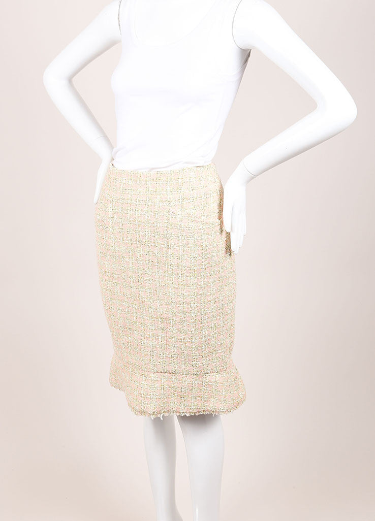 Chanel Green and Pink Houndstooth Tulip Skirt Sideview