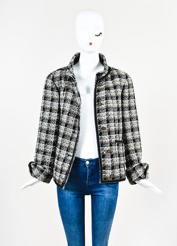 Chanel Brown, Black, and White Wool Tweed Twill Trim Jacket Frontview