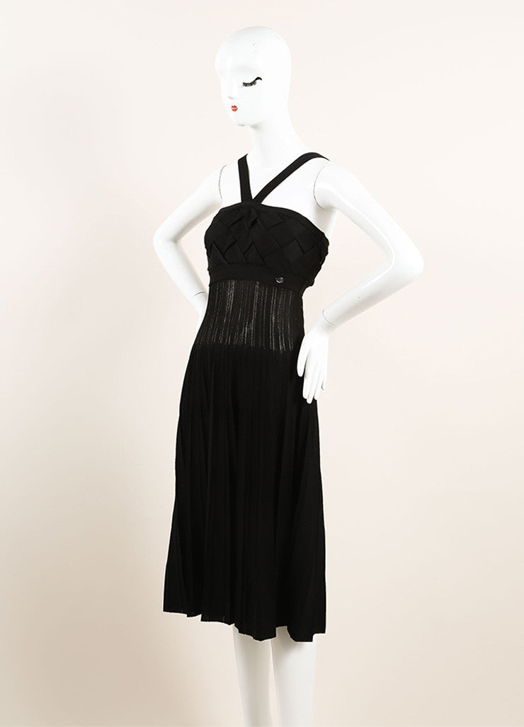Chanel Black Woven Pleated Spaghetti Strap Dress Sideview