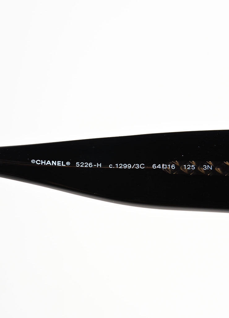 "Chanel Black Glossy ""CC"" Logo Oversized Oval Frame ""5226-H"" Sunglasses Brand"