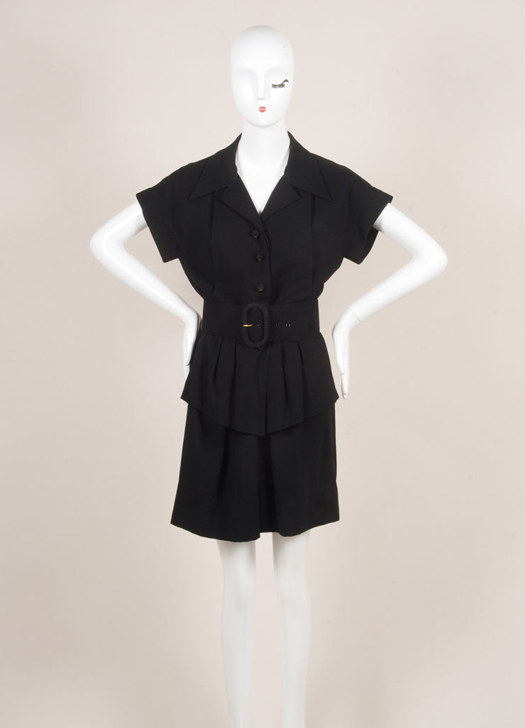 Chanel Black Knit Pleated Button Up Peplum Belted Short Sleeve Dress Frontview