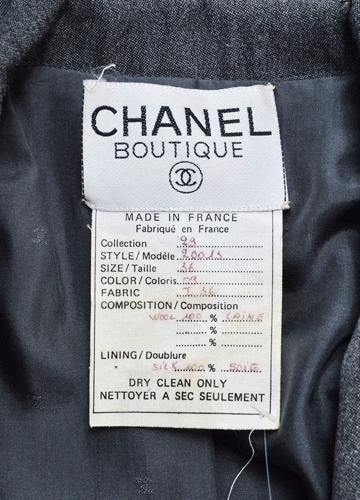 Chanel Grey Wool Double Breasted Blazer Brand