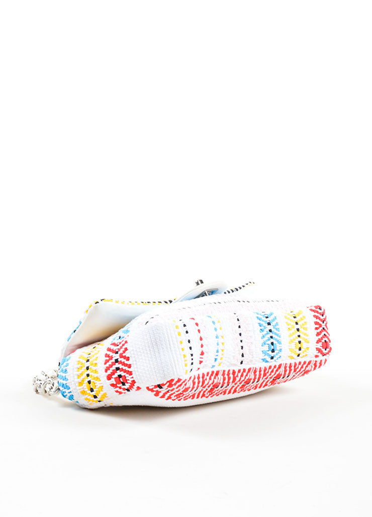 "White and Multicolor Chanel Woven Embroidered Ribbon Flap ""CC"" Turnlock Flap Bag Bottom View"