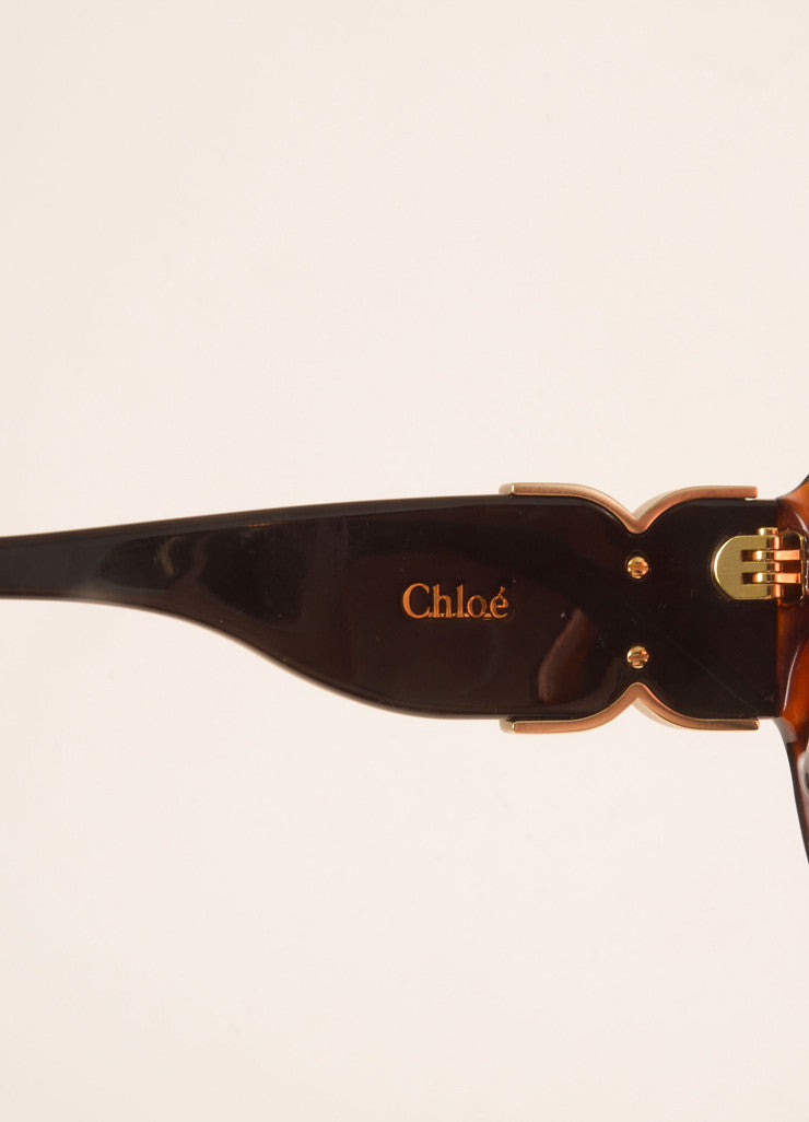 "Chloe Brown Tortoiseshell Plastic ""CL 2239"" Square Sunglasses Brand"