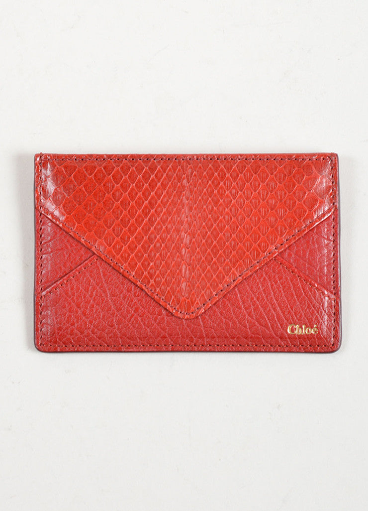 Chloe Red Python Leather Credit Card Holder Frontview