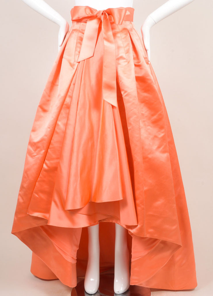 Christian Dior Coral Silk Full Ball Skirt Frontview