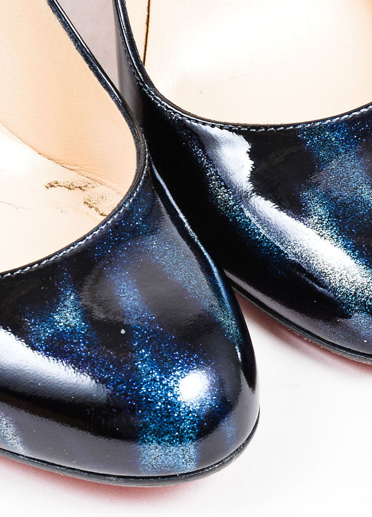 Black Blue Christian Louboutin Patent Leather Pumps Detail