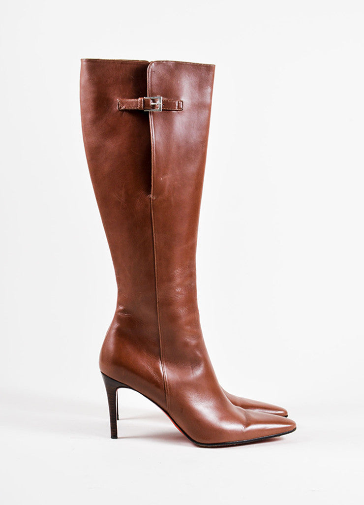 Christian Louboutin Brown Leather High Heeled Boots Side