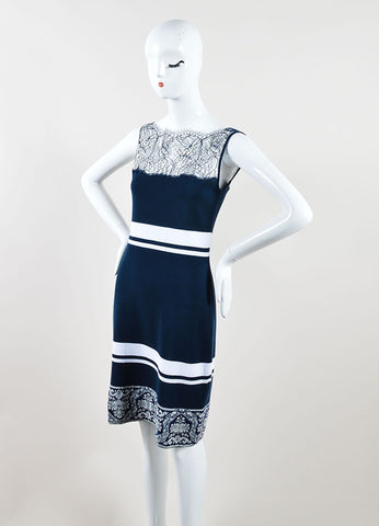 Class Roberto Cavalli Navy Striped Cotton Sheath Dress Side