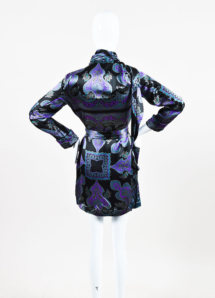 Grey, Purple, and Black Etro Silk Paisley Print Tie Neck Long Sleeve Dress Backview
