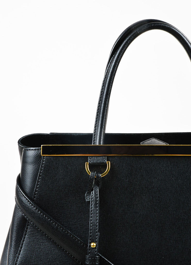 "Fendi Black Leather Gold Toned Hardware Structured ""2 Jours Shopper"" Shoulder Bag Detail 2"