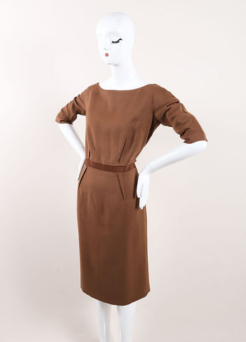 Giambattista Valli New With Tags Brown Wool Sheath Dress Sideview