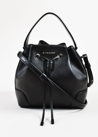 "Givenchy Black Grained Leather Small ""Lucrezia"" Two Way Bucket Bag Frontview"