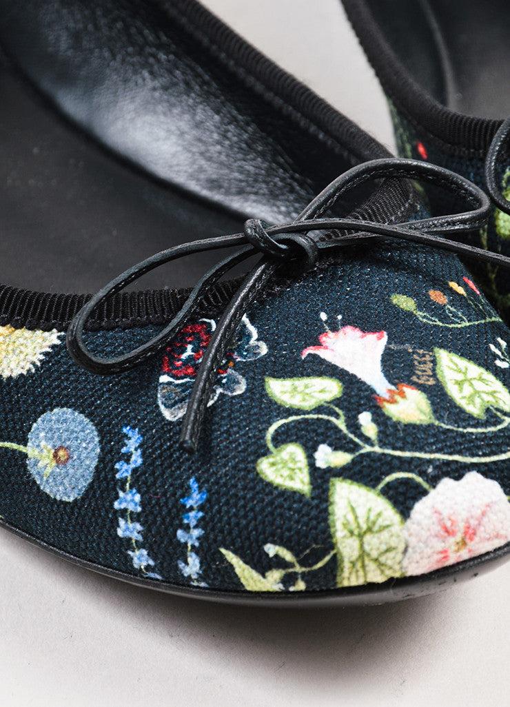 Gucci Black, Green, and Blue Canvas Floral Print Bow Front Ballet Flats Detail