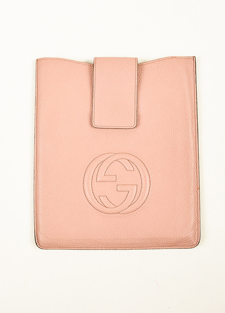 "¥éËGucci Blush Dusty Pink Pebbled Leather ""GG"" Embroidered ""Soho"" iPad Case Frontview"