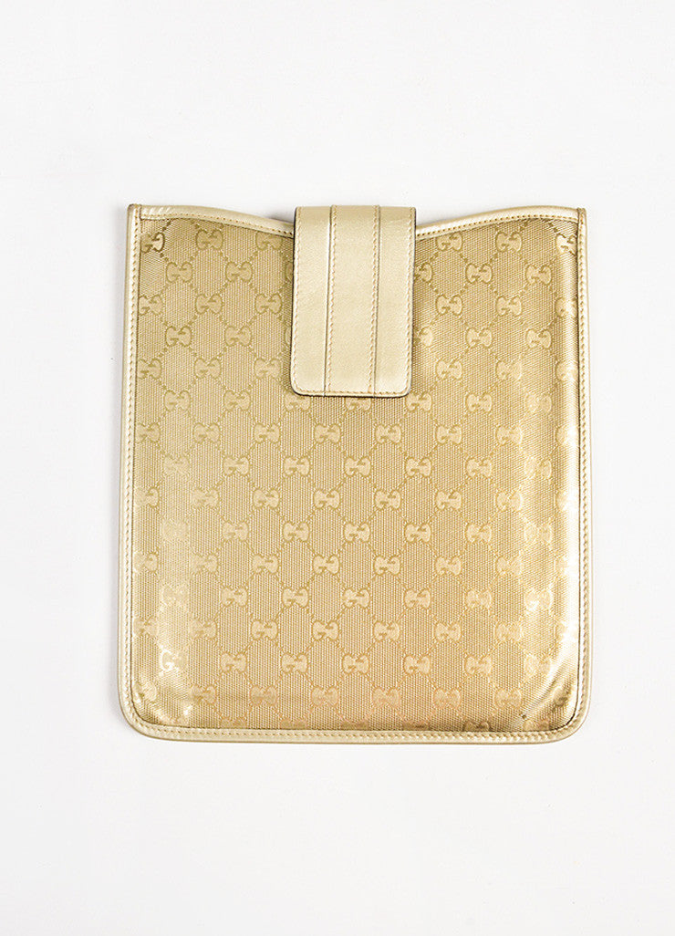 "Gucci Gold Metallic Coated Canvas Leather ""GG"" Ipad Case Front"