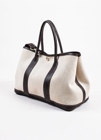 "White and Dark Brown Hermes Toile TPM ""Garden Party"" Tote Side"