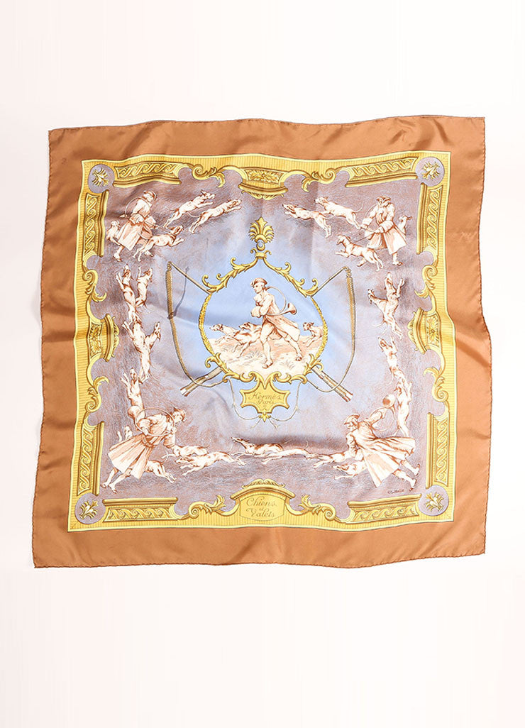 "Hermes Brown, Blue, and Multicolor Twill Silk Colonial Print ""Chiens et Valets"" Scarf Frontview"