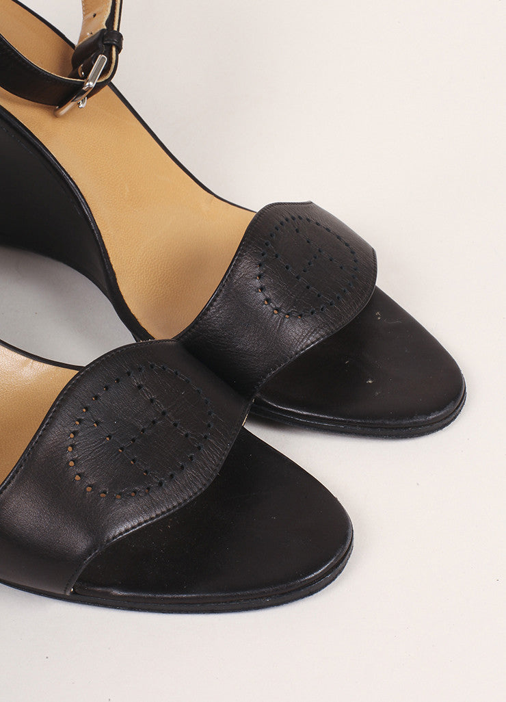 "Hermes Dark Brown Leather ""H"" Wedge Sandals Detail"