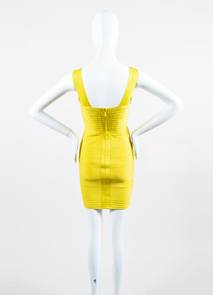 Yellow Herve Leger Bandage Stretch Knit Sleeveless Bodycon Dress Backview