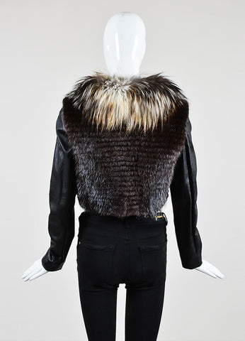 Black and Brown J. Mendel Leather and Fur Detachable Sleeve Cropped Jacket Vest Backview