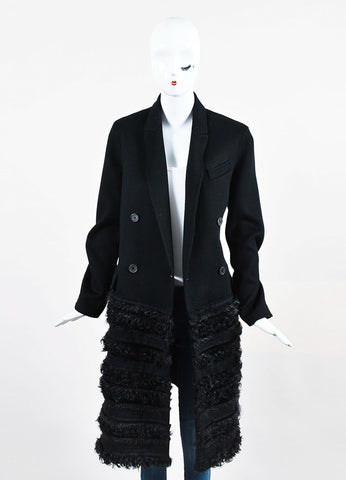 Black J. Mendel Wool Fur Trim Long Sleeve Coat Frontview