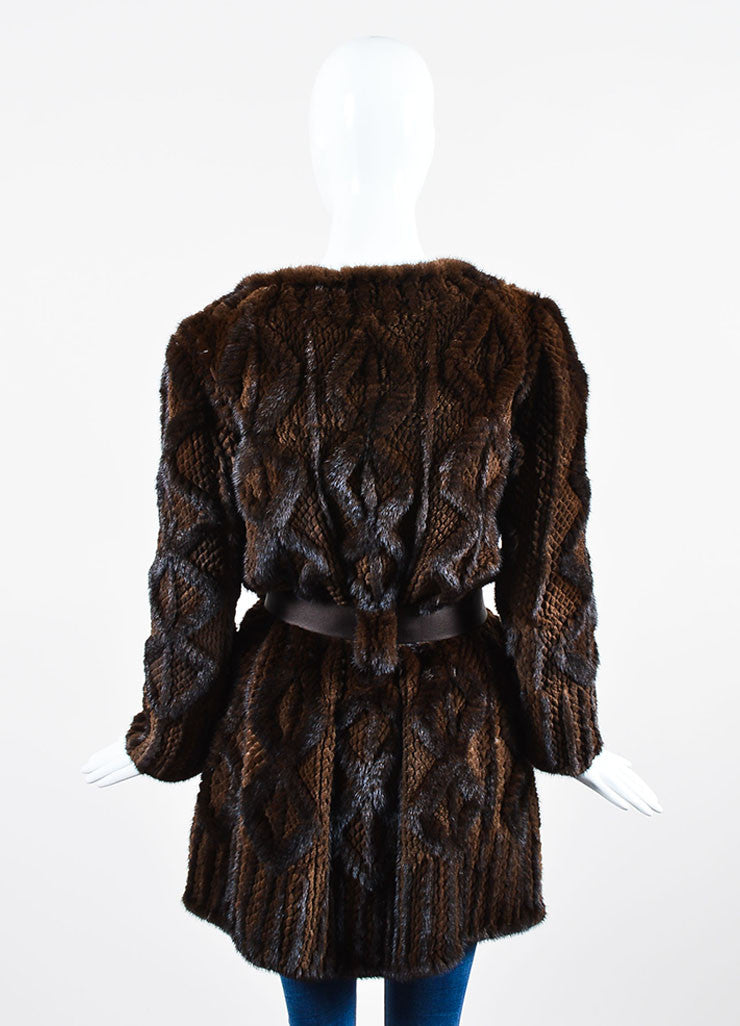 Dark Brown J. Mendel Fur Quilted and Cabled Shawl Lapel Belted Coat Backview