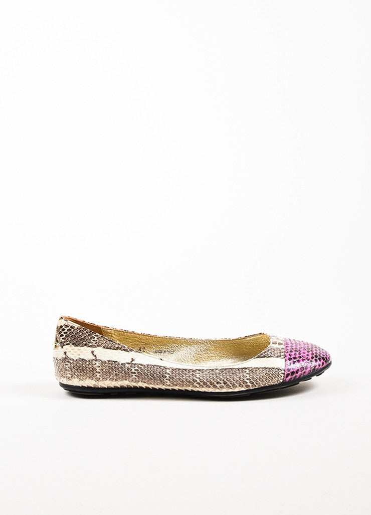 "Jimmy Choo Cream and Purple Snakeskin Cap Toe ""Whirl"" Ballet Flats Sideview"