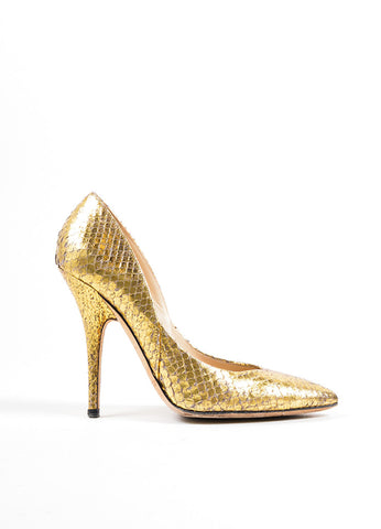 Metallic Gold Jimmy Choo Python Pointed Toe Pumps Sideview