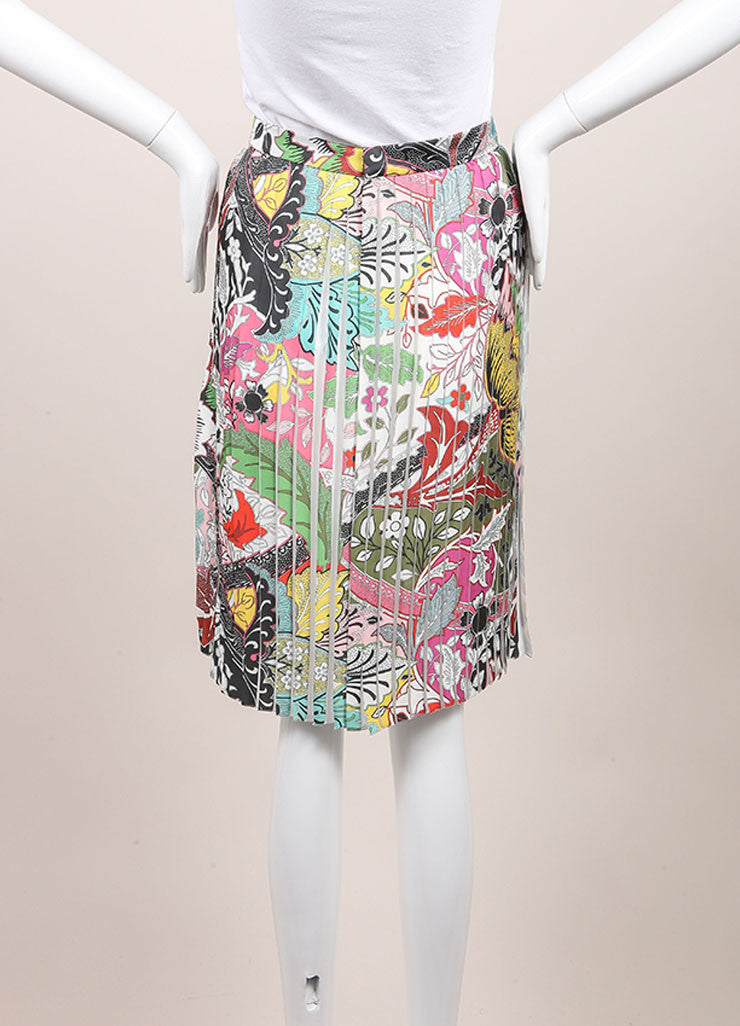 "Jonathan Saunders New With Tags Multicolor Floral Print Pleated ""Harleth"" Skirt Backview"