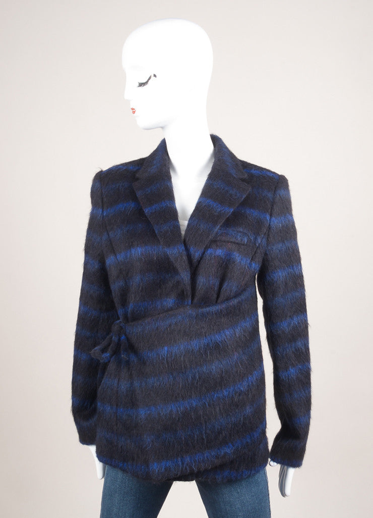 Kenzo New With Tags Blue and Black Wool Striped Wrap Jacket Frontview