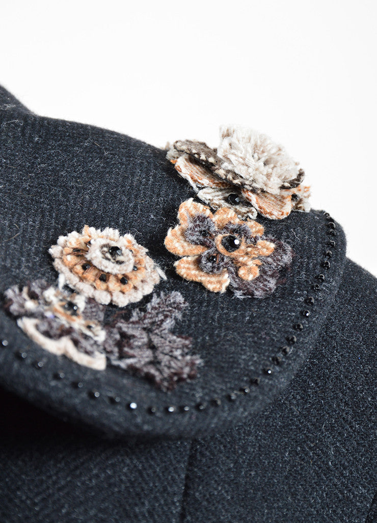 Louis Vuitton Dark Grey Wool Herringbone Flower Applique Mid Length Coat Detail
