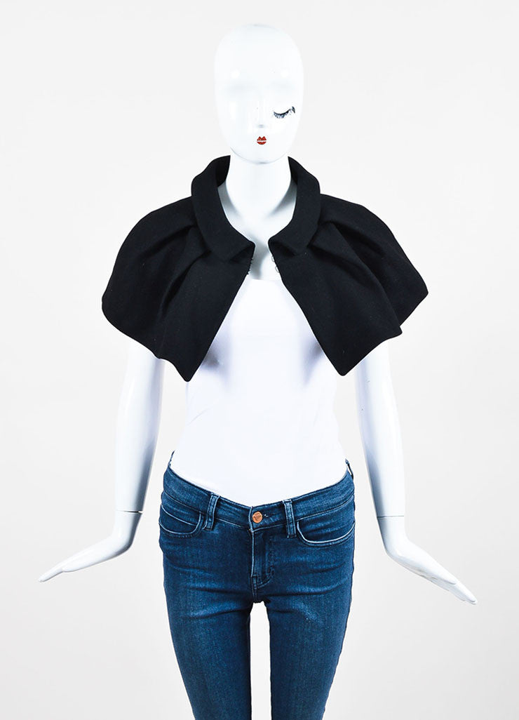 Black Louis Vuitton Wool Pleated Mini Cape frontview