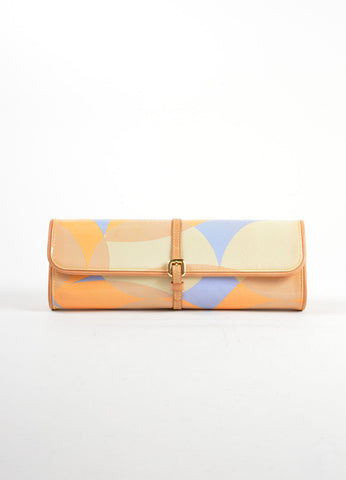 Louis Vuitton Tan, Blue, and Orange Patent Leather Vernis Embossed Pochette Fleur Bag Frontview