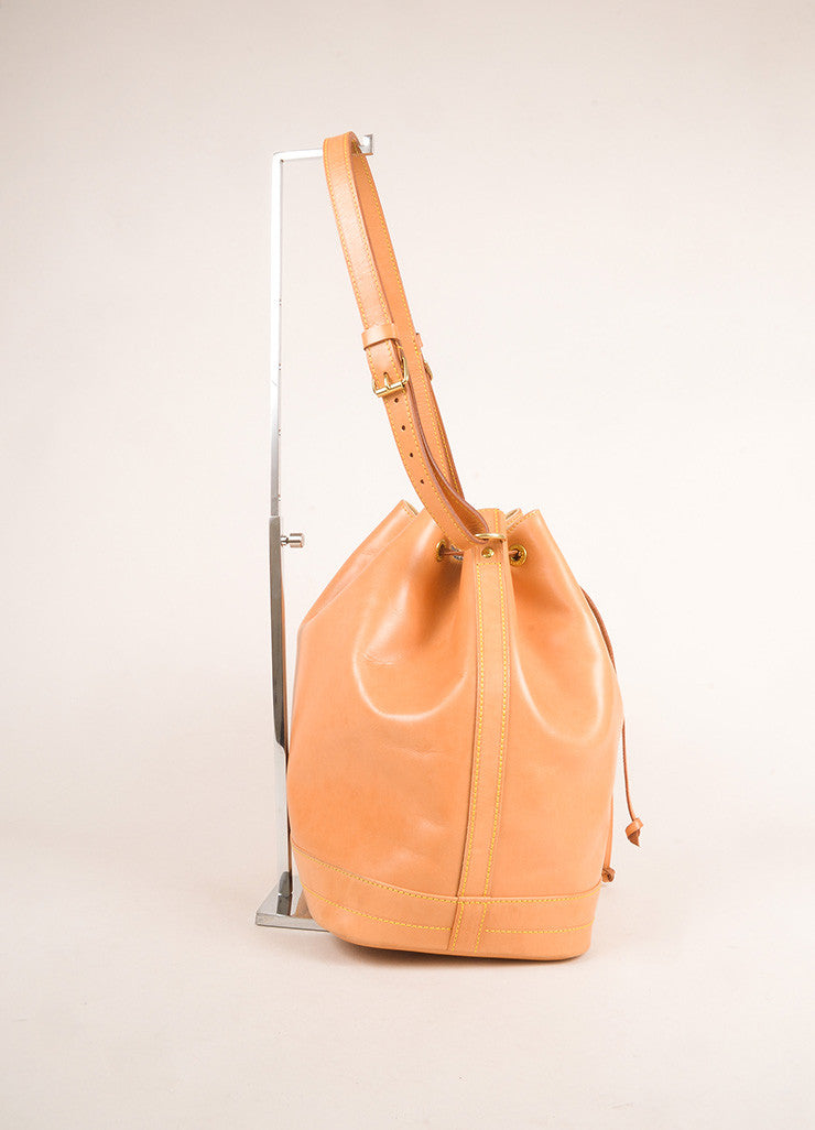 "Louis Vuitton Tan Vachetta Leather ""Noe"" Large Bucket Bag Sideview"