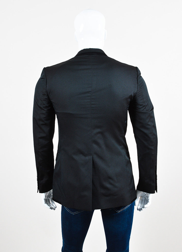 Men's Dolce & Gabbana Black Diamond Patterned Evening Jacket Back