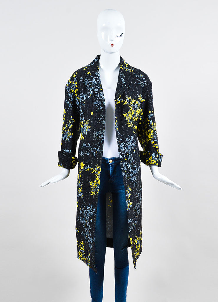 Black, Yellow, and Grey Marni Wool and Silk Blend Floral Print Long Jacket Frontview