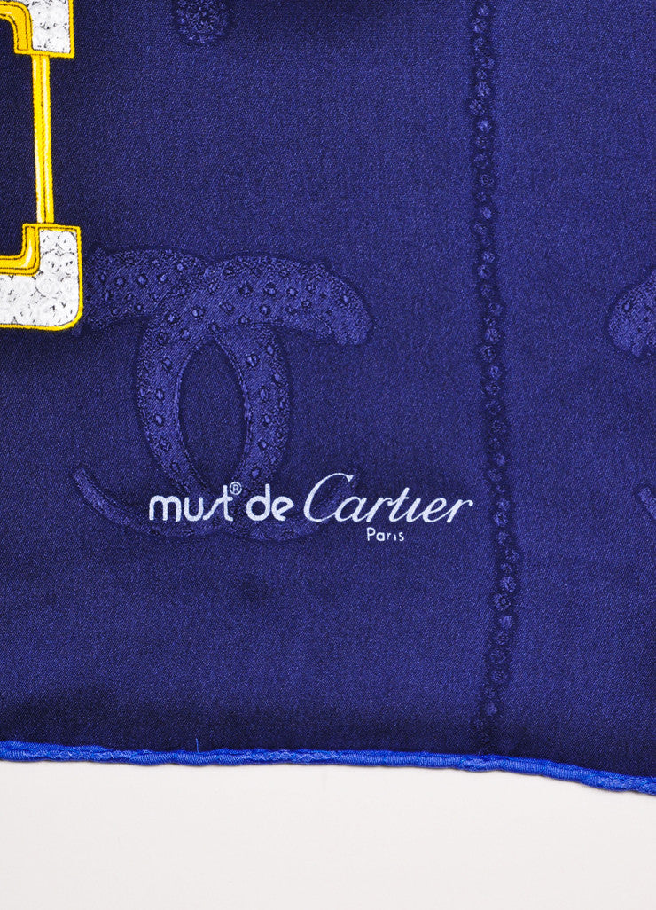 Must de Cartier Navy and Multicolor Silk Jewel Leaf Embossed Printed Scarf Brand