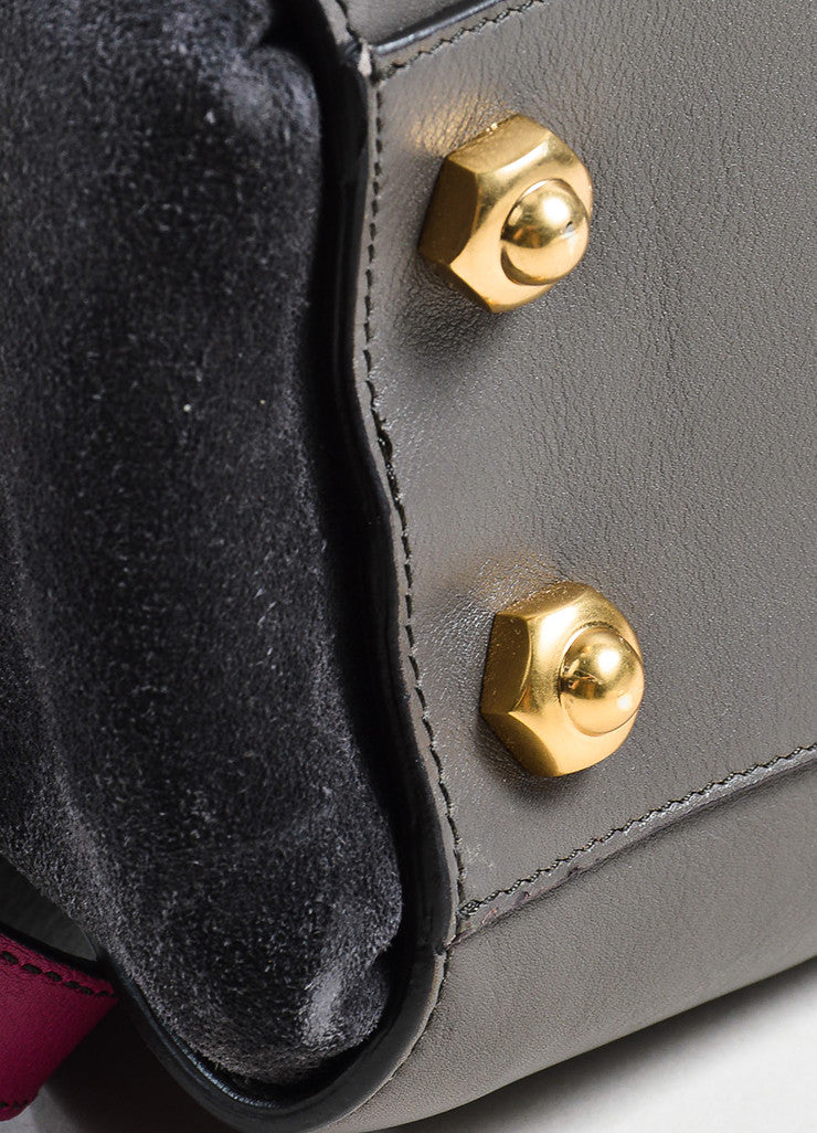 "Nina Ricci Grey and Magenta Leather ""Le Marche"" Shoulder Bag Detail"