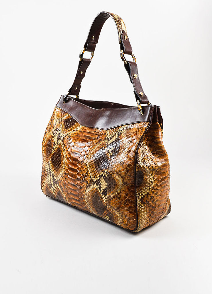 Oscar de la Renta Brown Python Leather Trim Shoulder Tote Bag Sideview