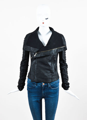 Rick Owens Black Coated Leather and Wool Laced Sleeve Asymmetrical Jacket Frontview 2