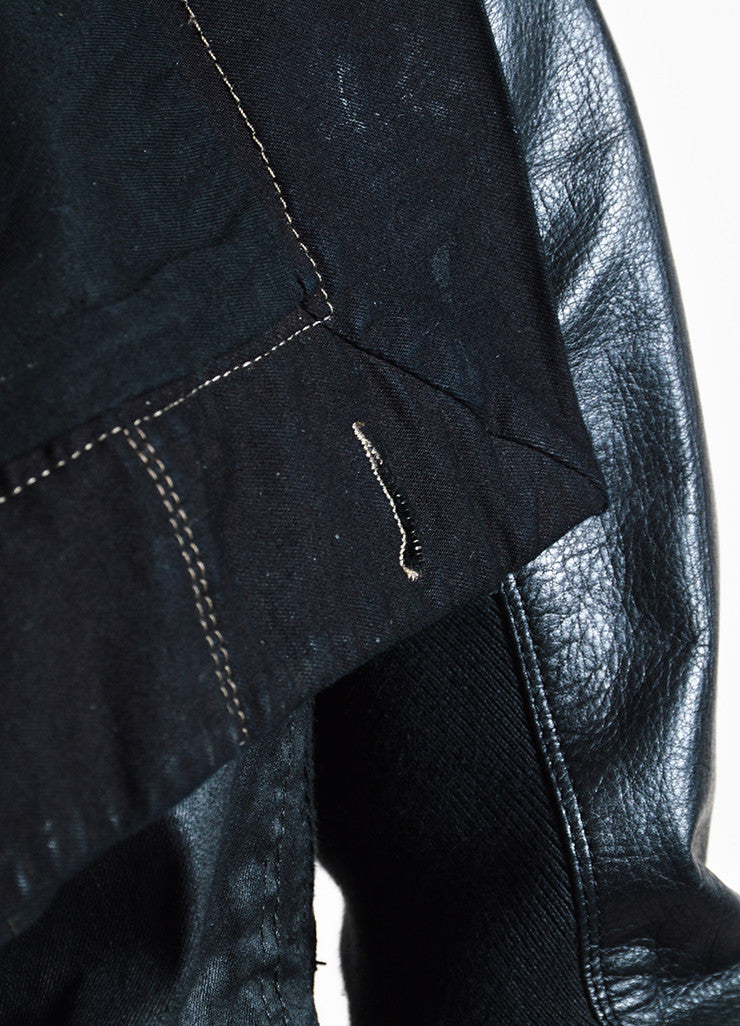 Rick Owens Black Waxed Denim Leather Sleeve Buttoned Jacket Detail