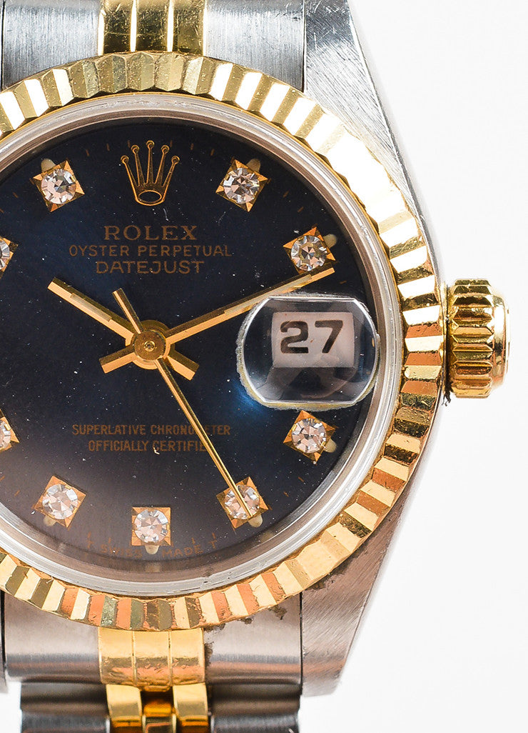 "Rolex 18K Gold, Stainless Steel, and Diamond ""Oyster Perpetual Datejust"" Automatic Watch Detail 2"