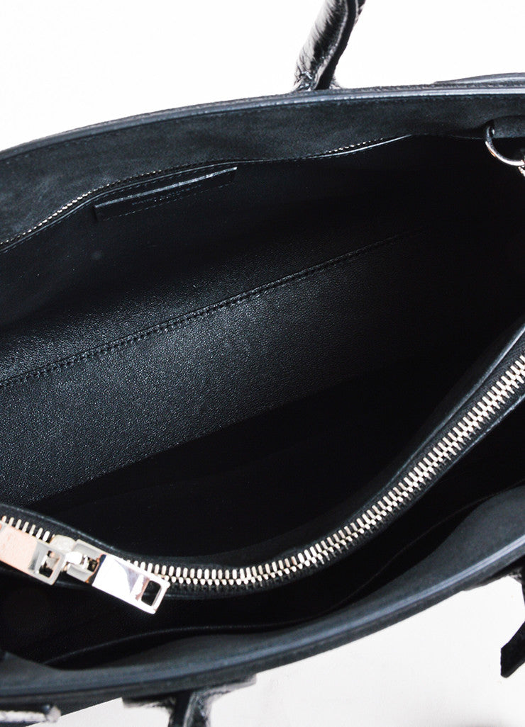 "Black Saint Laurent Suede Embossed Leather Small ""Sac de Jour"" Tote Detail 4"